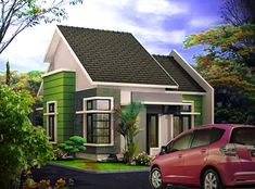 A simple house leaning towards natural interior selection, such as furniture made from wood, creates a slightly classic impression, but . Latest House Designs, Cool House Designs, Modern Bungalow House Design, Modern Design, Minimalist House Design, Minimalist Home, Interior Concept, Story House, Floor Design