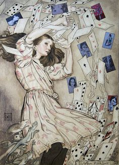the climax of Alice in Wonderland by Arthur Rackham. If you want to know where most fantasy art of the Century comes from, look to Arthur Rackham, most particularly Alan Lee and Brian Froud Arthur Rackham, Art And Illustration, Book Illustrations, Lewis Carroll, We All Mad Here, Film Tim Burton, Alice In Wonderland Illustrations, Chesire Cat, Adventures In Wonderland