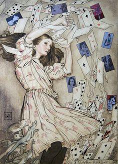 Title: Alice, Missing, Homage to Rackham. Medium: Line and Wash
