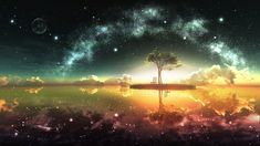 water sunset ocean landscapes trees night stars Moon islands glowing sunlight scenic chairs artwork skyscapes reflections skies sea oceanscape