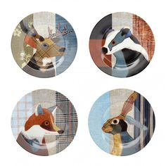"""Magpie Beasties Set of Four 7.5"""" Plates by Carola van Dyke - Magpie from Mollie and Fred UK"""