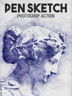 Pen #Sketch #Photoshop #Action