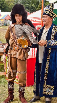 Falconers from Kazakhstan in traditional costume