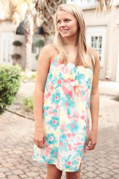 Summer Floral Racer Back Dress #lotusboutique #boutique #rushwear #sororitydress #sororityrushwear
