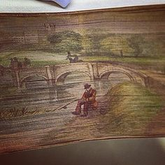 Close up view of fore-edge painting on The Works of Edmund Spenser 1856. www.bookdecor.com