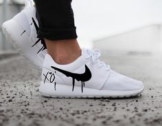 Nike Roshe with XO and Black Candy Drip Swoosh Paint