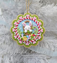 Handcrafted Polymer Clay Easter Bunny Scene par MyJoyfulMoments