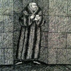 """""""He wrote it all down Zealously"""" is the last couplet from Edward Gorey's """"The Glorious Nosebleed"""" (1974).  The illustration is an auto-portrait of Edward Gorey himself, with beard, glasses, and large fur coat. The series of illustrated couplets in the boo by alexdecarvalho, via Flickr"""