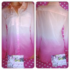 NEW S $98 Victoria's Secret THE SILK SHIRT blouse button down ombre pink/peach