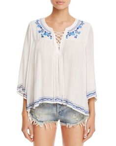 4150bf01dc Lovers and Friends Marine Lace-Up Embroidered Top