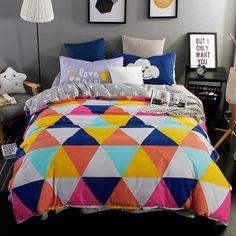 Reactive Printed Bedding Set Cotton Colorful Plaid Bedding Sets Duvet Cover Set Bedsheet Pillowcase Set Queen Full Twin Size