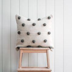 Pompom Wool Pillow Cover - Cute Pillow - Wool Pillow - Handwoven Pillow - Texture Pillow - Boho Pillow - Nursery Pillow- Home Decor - Pompom Wool Pillow Cover – Cute Pillow – Wool Pillow – Handwoven Pillow – Texture Pillow – -