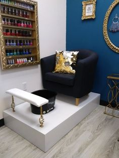 Pedicure platform with tub at bombshell nail studio pedicure station, pedicure salon ideas, nail