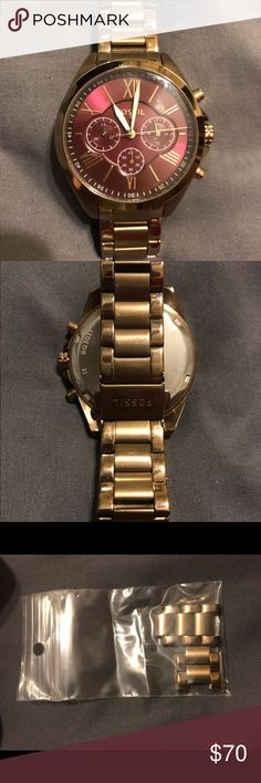 Women's fossil watch Multi-function fossil watch with maroon face Fossil Jewelry