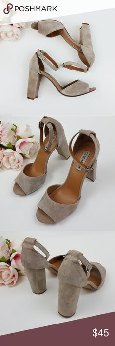 Steve Madden suede vlock heels size 9.5 -E3 In good condition! Steve Madden block style heels size 9.5. Gray/beige color. Strap is in good condition! Used item: pictures show any signs of wear. Inspected for quality. Bundle up! Offers always welcome:)  Check out my husband's closet: @kirchingeraaron Steve Madden Shoes