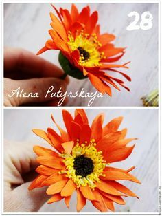 Для работы нам понадобится: фоамиран 4-х цветов (оранжевый, желтый, коричневый и зеленый); тычинки для цветов; тейп-лента зеленого цвета; флористическая проволока для стебля; ножницы; термопистолет клеевой либо супер-клей. Масштабируем выкройку до нужного размера, чтобы размер на выкройке соотвертвовал размеру прямоугольников 25смХ1,5см и 40см Х 1,5см.