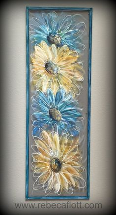 FlowersBlue and Yellow Flowershand painted by RebecaFlottArts
