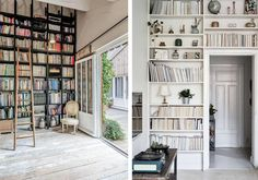 These shabby chic home libraries with floor-to-ceiling bookshelves definitely need a wooden ladder. Shabby Chic Homes, Shabby Chic Decor, Floor To Ceiling Bookshelves, Wooden Ladder, Home Libraries, Shabby Chic Furniture, Bird Houses, Decorating Tips, Room Decor