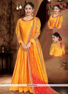 Silk Handwork Yellow Trendy Gown Indian Designer Sarees, Indian Sarees Online, Designer Gowns, Long Anarkali, Anarkali Suits, Abaya Fashion, Fashion Pants, Yellow Fabric, Gowns Online