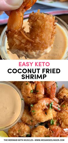 Easy Keto Fried Coconut Shrimp Easy Coconut Fried Shrimp- Air Fryer or pan fried shrimp. These coconut shrimp are paleo and keto friendly, super easy keto appetizer or low carb dinner the family will love! Low Carb Shrimp Recipes, Seafood Recipes, Dinner Recipes, Chicken Recipes, Fish Recipes, Low Carb Coconut Shrimp Recipe, Low Carb Dinner Ideas, Recipies, Lunch Recipes