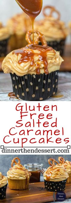If you love the combination of sweet and salty then these Gluten Free Salted Caramel Cupcakes are definitely for you. The decadent flavors of buttercream frosting combined with homemade salted caramel sauce on top of a vanilla cupcake come together to fo Gluten Free Deserts, Gluten Free Sweets, Foods With Gluten, Gluten Free Cooking, Dairy Free Recipes, Patisserie Sans Gluten, Dessert Sans Gluten, Cupcake Recipes, Dessert Recipes