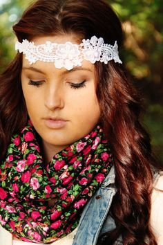 Floral Lace Flower Crown Headband bohemian style Boho by Murabelle