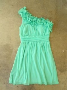 Seafoam one-shouldered dress
