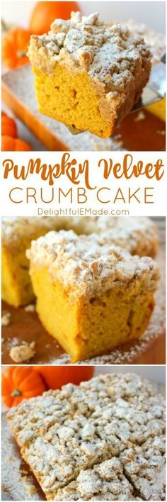 Meet your new favorite coffee cake! This incredibly moist, velvety pumpkin crumb cake has all your favorite fall flavors topped with an amazing cinnamon crumble. It's the breakfast treat to serve on Thanksgiving morning, or simply enjoy with your pumpkin Thanksgiving Desserts, Fall Desserts, Just Desserts, Delicious Desserts, Dessert Recipes, Dessert Ideas, Pumpkin Coffee Cakes, Pumpkin Dessert, Pumpkin Recipes