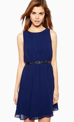 Made from a breathable woven fabric. Crew neckline. Pleated detail throughout. Embellished silk wais...