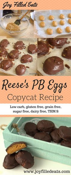 Here is a Trim Healthy Mama friendly Reese's Egg copycat that is low carb, gluten, grain, sugar, and dairy free. Just in time for Easter! via @joyfilledeats