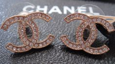 $425 AUTHENTIC BRAND NEW GOLD CHANEL LARGE CC LOGO CRYSTAL EARRINGS 2014 #Chanel #Stud