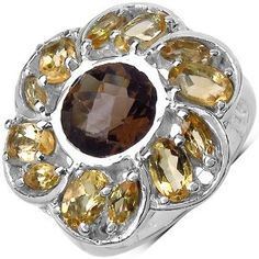 3.90 ct. t.w. Smoky Quartz and Citrine Sterling Silver Ring available at joyfulcrown.com