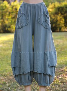 Oh My Gauze Cotton Lagenlook Guchi Pants Harem Layered Wide M L XL 1x Sage | eBay