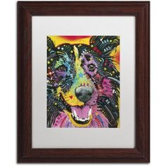 Trademark Fine Art Smiling Collie Canvas Art by Dean Russo, White Matte, Wood Frame, Size: 11 x 14, Brown