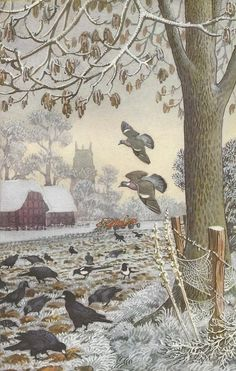 """Illustration by Charles Tunnicliffe from the Ladybird book """"What To Look For In Winter"""" Just the type of homely scenic pictures I loved as a child Art And Illustration, Book Illustrations, Ladybird Books, Winter Art, Art Graphique, Wildlife Art, Bird Art, Landscape Art, Pastel"""