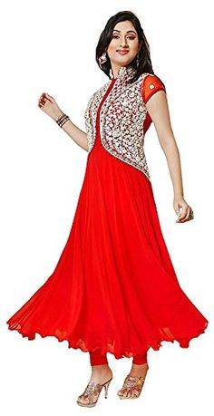 Chariot Ethics Women's Georgette Semi Stitched Salwar Suit Set (Pankhudi Red) - http://weddingcollections.co.in/product/chariot-ethics-womens-georgette-semi-stitched-salwar-suit-set-pankhudi-red/