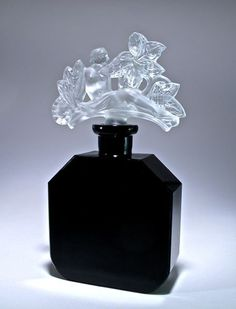 1920s Ingrid-Czechoslovakian perfume bottle, black crys