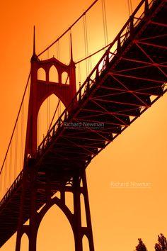 Sunset St Johns Bridge Portland Oregon Pearlized by newman48, $30.00