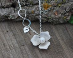 PEARL Necklace Sterling Silver Dangling pearl Necklace by MonyArt