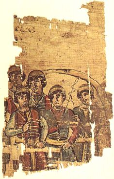 Charioteer Papyrus, c. 400 AD, one of the finest surviving fragments of classical book illustration, though from an unknown work of literature.