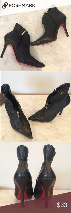"Carmen Steffens red bottom leather shoes Super cute pointy toe leather booties with red soles. 4"" inch heel. These are from a Brazilian designer, size 38 but fits like a US size 7. No trades. carmen steffens Shoes Ankle Boots & Booties"
