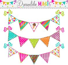 Colorful Bunting Clipart Clip Art Banner Flags for Personal ...