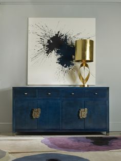 entryway ideas, blue sideboard, art, golden lighting, for more ideas and…
