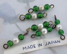 vintage glass green & faux pearl connector bead charms from Japan 11x4mm.  MIJ - f2882