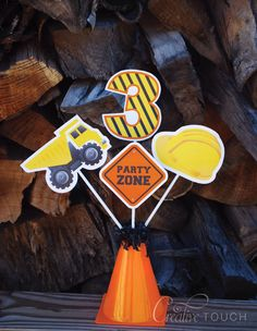Construction Centerpieces Construction Tools by CreativeTouchhh Construction Birthday Parties, Construction Party, 4th Birthday Parties, Construction Tools, 1st Birthdays, Third Birthday, Boy Birthday, Birthday Banners, Birthday Ideas