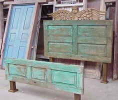 Old doors as headboards and footboard