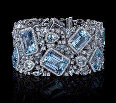 Cartier Aquamarine & Diamond Bracelet! #Cartier #ArtDeco #WhiteGold