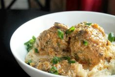 Baked Creole Turkey Meatballs with Mushroom Gravy. A few tweaks and it could have healthy potential!