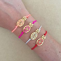 Gold Plated Pineapple Fruit Friendship Bracelet Exotic