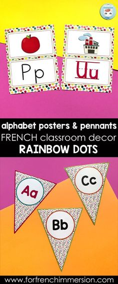 French Classroom Decor Rainbow Dots: alphabet posters in different versions. Wouldn't you like your French classroom decorated with colorful dots? Just get this decor set and print all the items your need. French Lessons, Spanish Lessons, Teaching French, Teaching Spanish, French Classroom Decor, French Alphabet, Inquiry Based Learning, French Immersion, Spanish Language Learning
